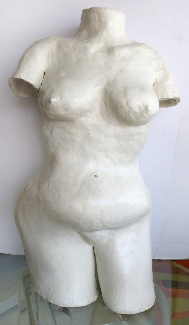 20th-C.Abstract Gesso Torso Sculpture Wendy Starland