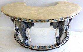 Elephant Head Tessellated Stone Desk Maitland-smith