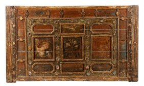 18th C. Carved Polychrome & Glass Accented Panel