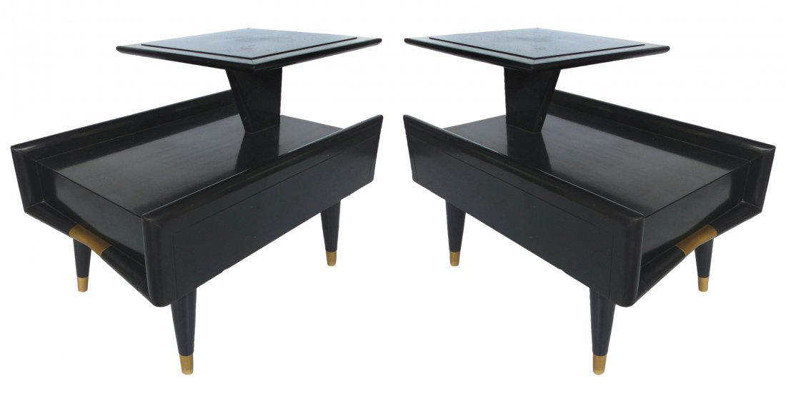 1955 Modernist Lacquered Nightstands, Pair