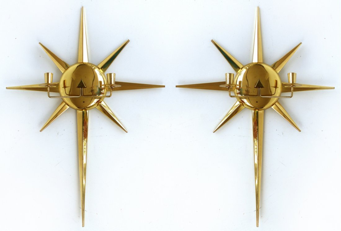 Brass Star Candle Wall Sconces , Pair