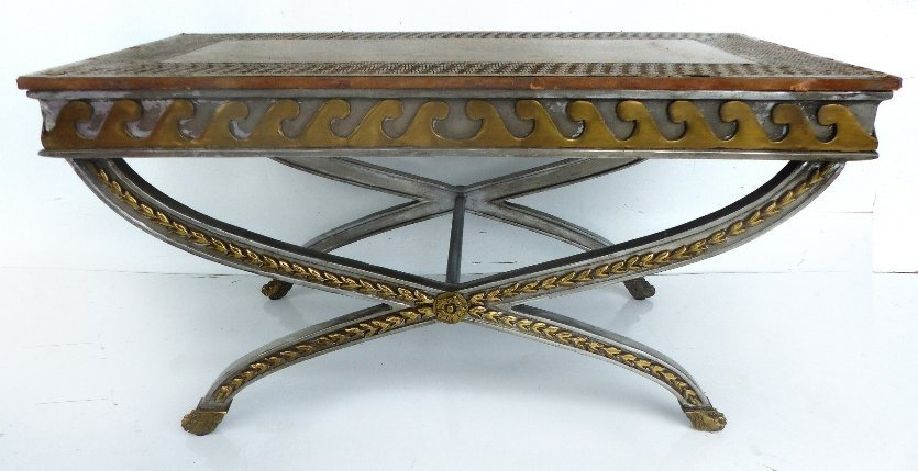 StainlessSteel & Brass Coffee Table/ Tooled Leather Top