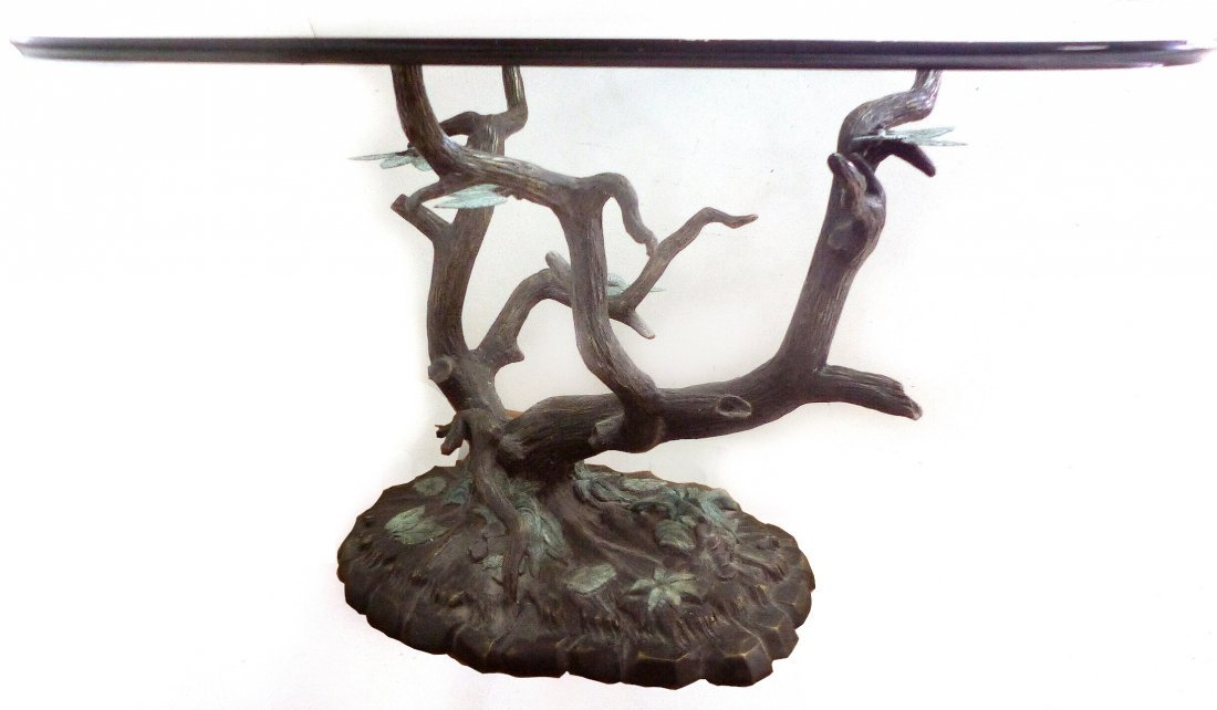 Bronze Sculpture Tree Dining Table Base w/ Glas Top