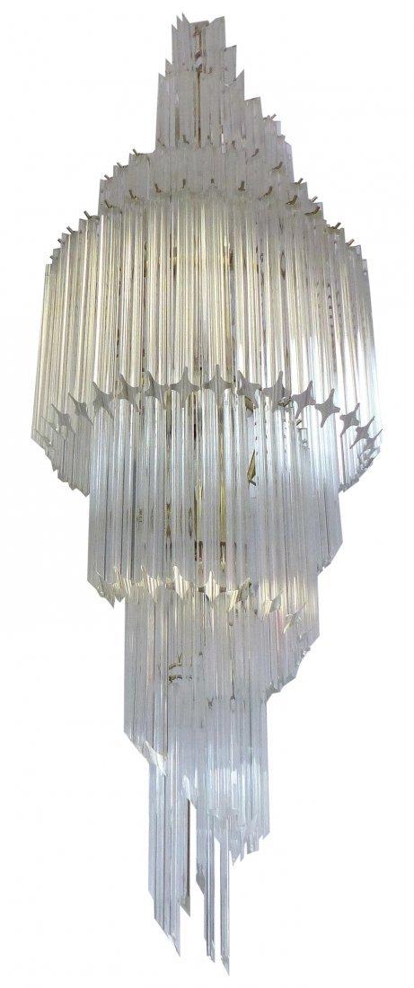 Midcentury Lucite Spiral Venini Style Chandelier