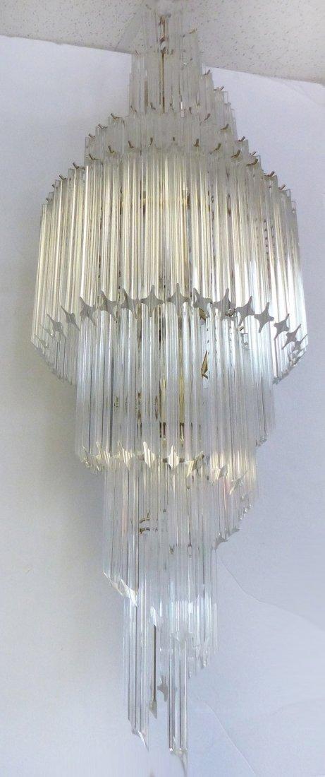 Midcentury Lucite Spiral Venini Style Chandelier - 2