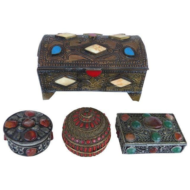 Collection of Metal Boxes W/ Stone & Bone- Set of 4