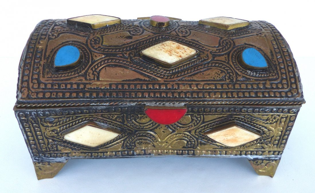 Collection of Metal Boxes W/ Stone & Bone- Set of 4 - 2