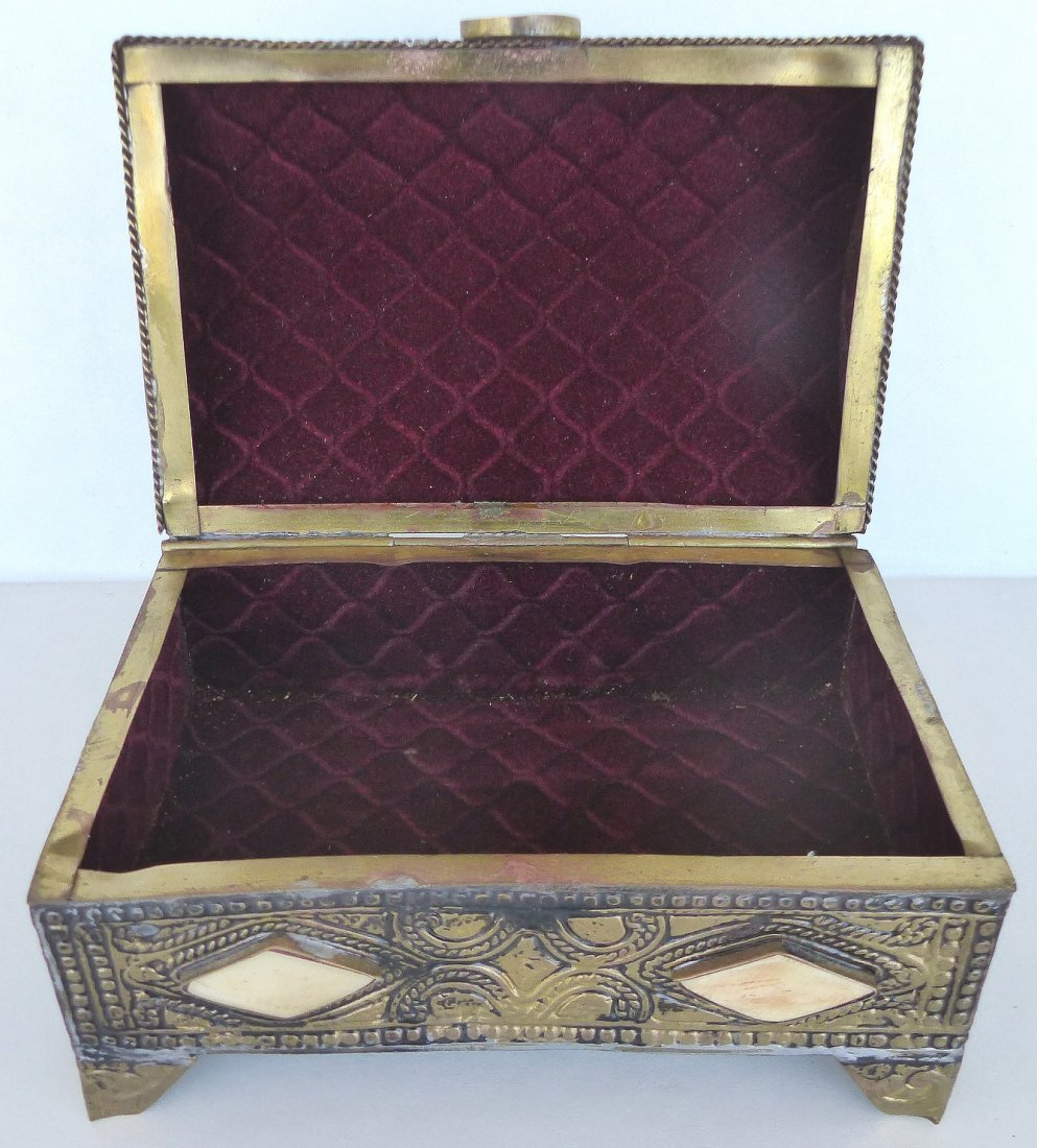 Collection of Metal Boxes W/ Stone & Bone- Set of 4 - 3