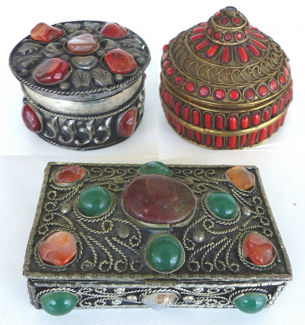 Collection of Metal Boxes W/ Stone & Bone- Set of 4 - 4