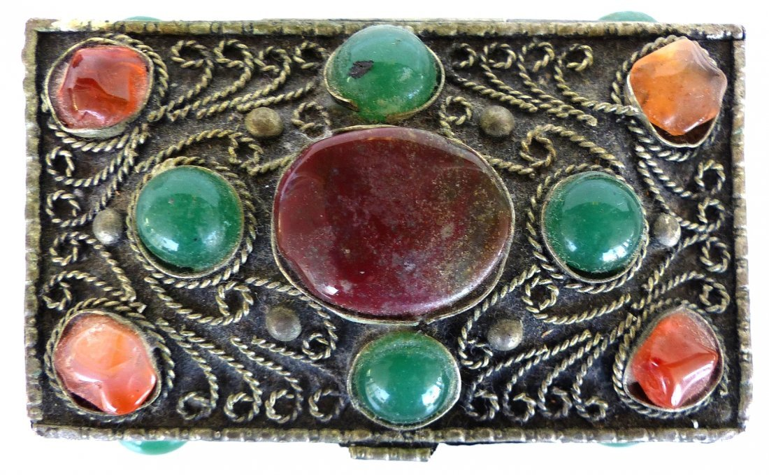 Collection of Metal Boxes W/ Stone & Bone- Set of 4 - 8
