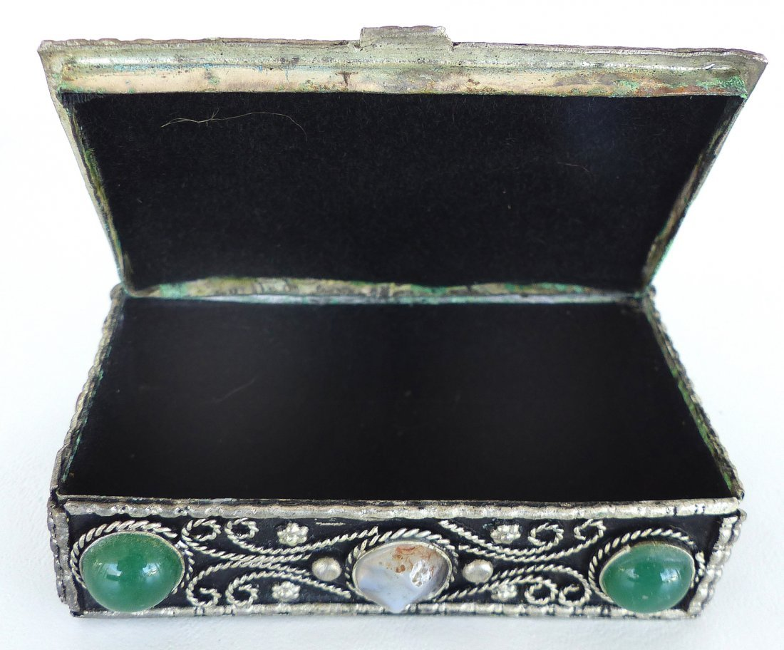 Collection of Metal Boxes W/ Stone & Bone- Set of 4 - 9