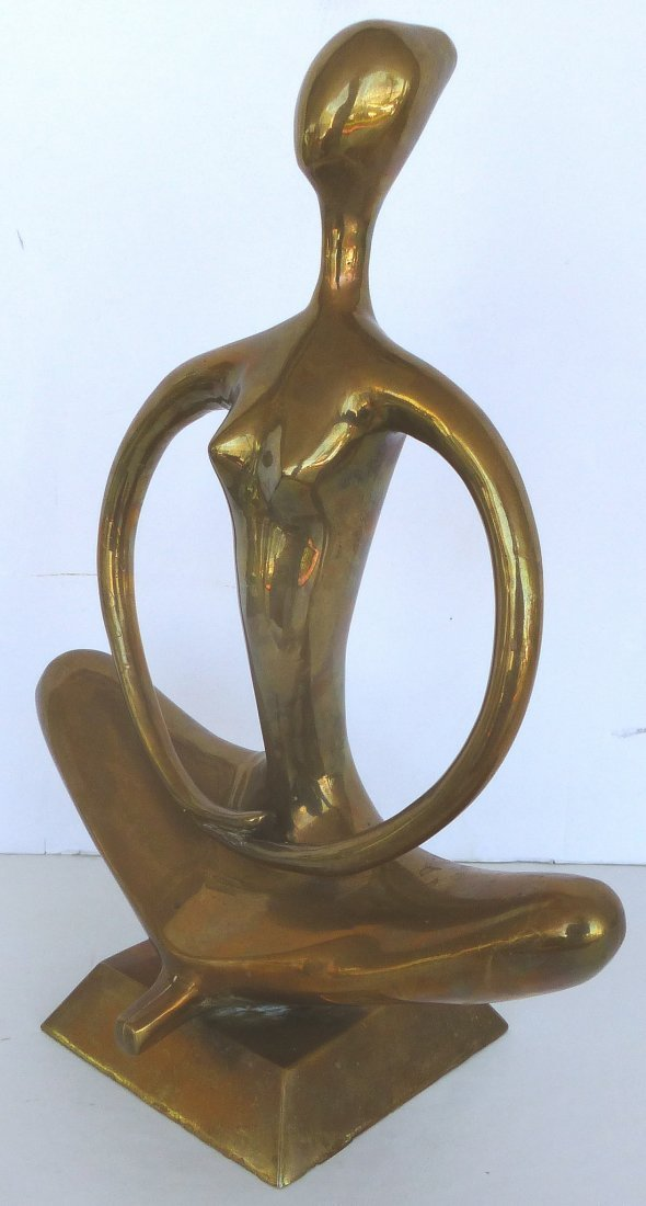 Stylized Brass Zen Yoga Figure Sculpture - 2