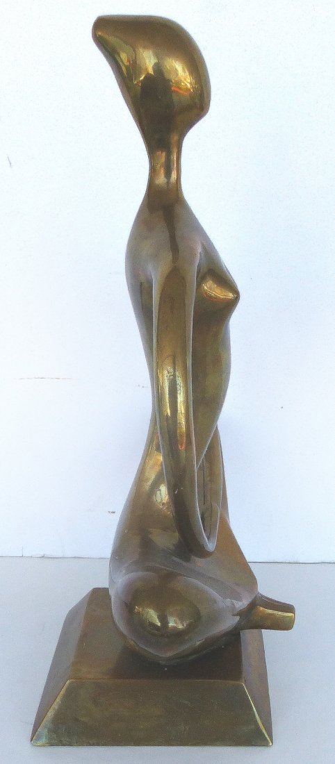 Stylized Brass Zen Yoga Figure Sculpture - 3