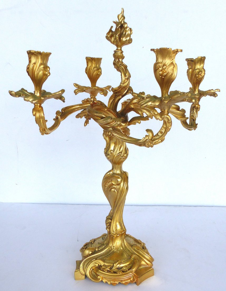 Dore Gilt Bronze Candelabras, Pair - 2