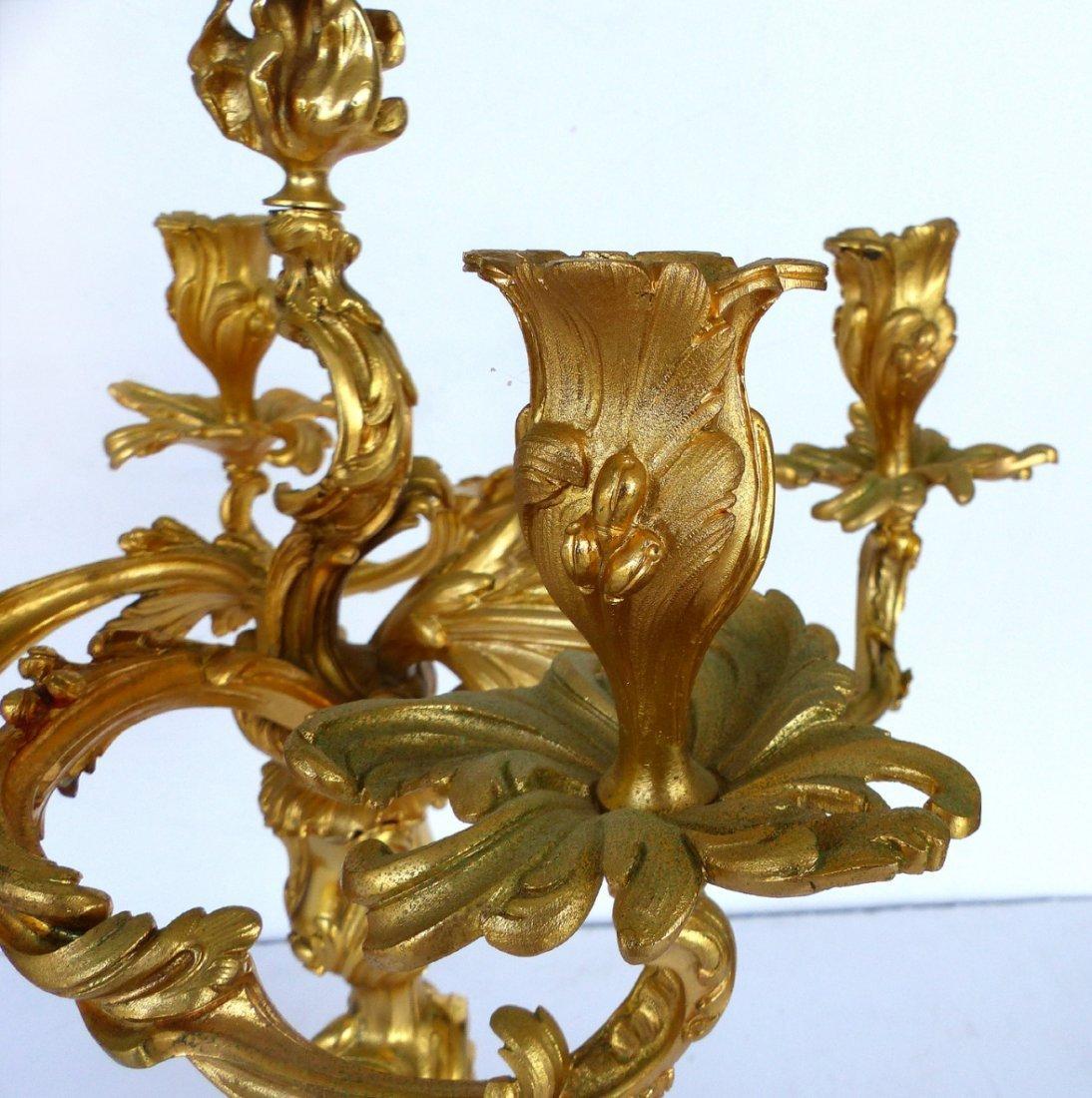 Dore Gilt Bronze Candelabras, Pair - 4