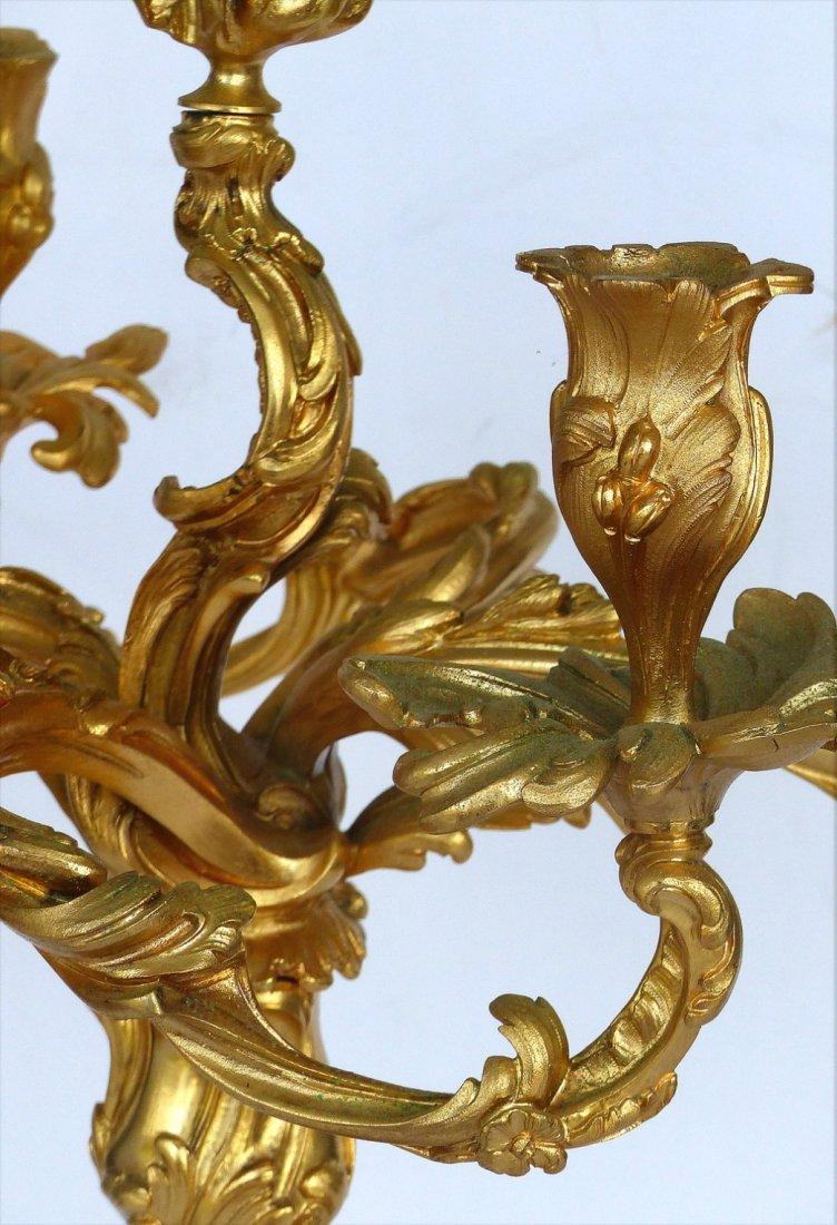 Dore Gilt Bronze Candelabras, Pair - 5