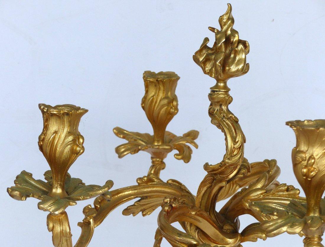 Dore Gilt Bronze Candelabras, Pair - 6