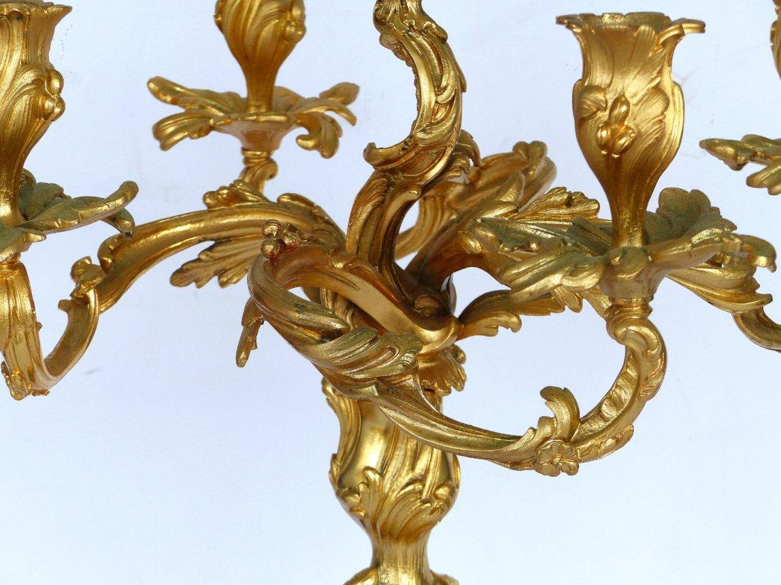 Dore Gilt Bronze Candelabras, Pair - 7