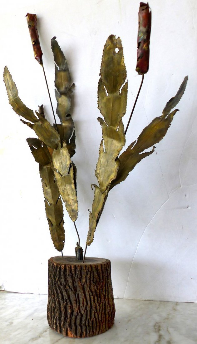 Brutalist Torch Cut Cattail Sculpture
