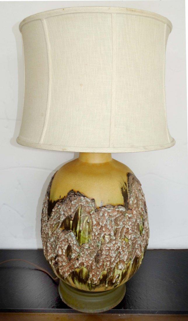 Mid-century Modern Overscale Lava Glazed Pottery Lamp