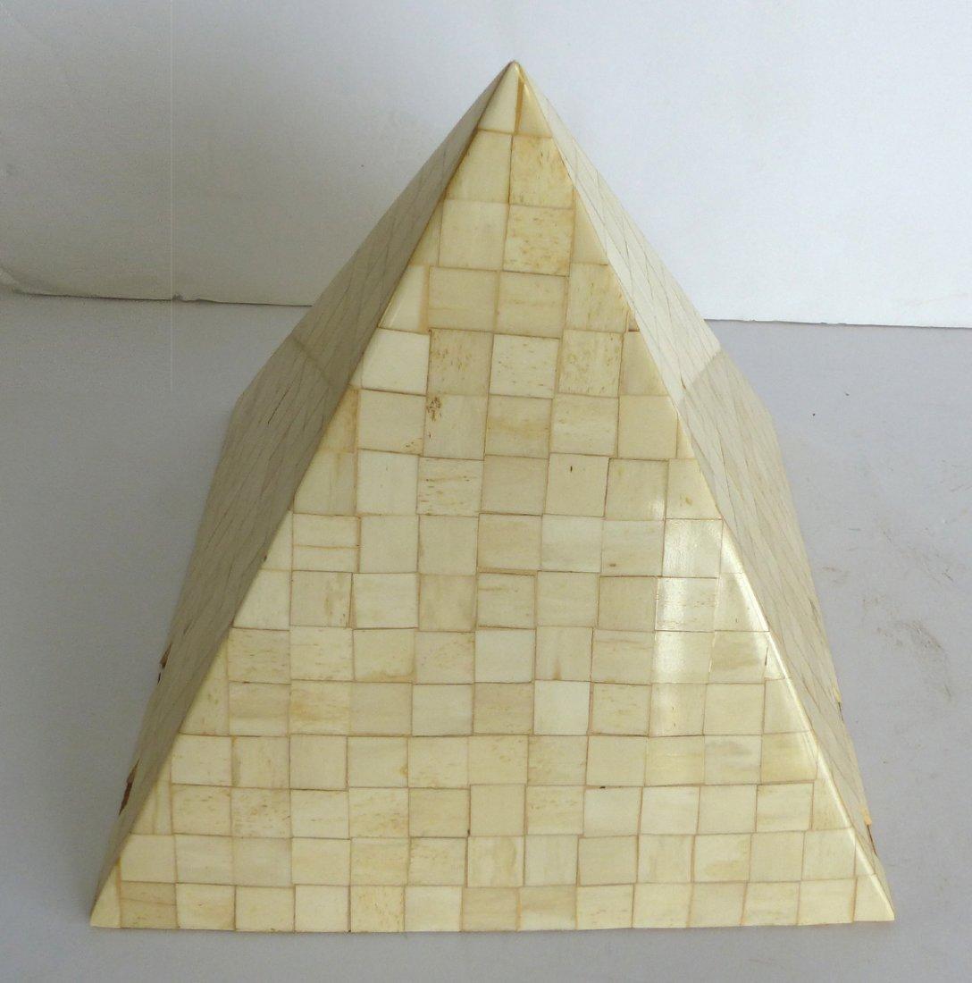 Maitland-Smith Tessellated Bone Pyramid Sculpture