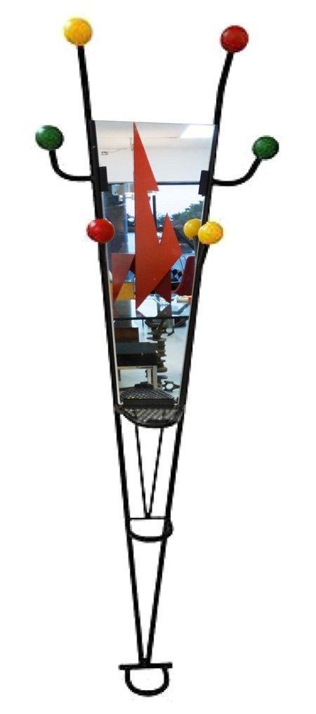 Memphis Post Modern Iron Hall Stand / Mirror Coat Rack