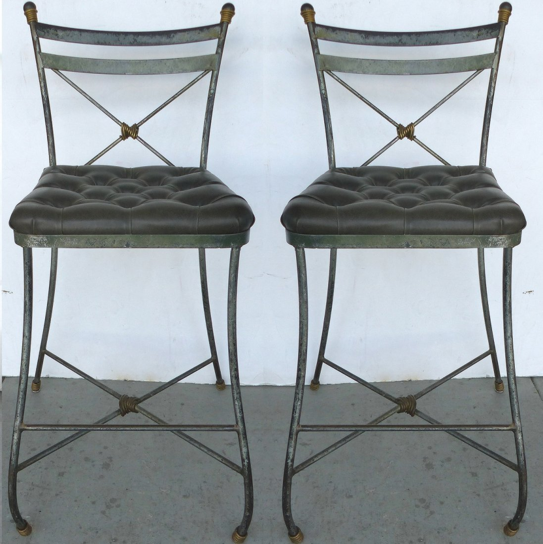 Forged Iron Tufted Bar Stools, Pair
