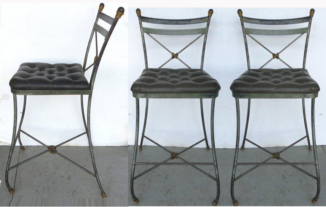 Forged Iron Tufted Bar Stools -Set of 3