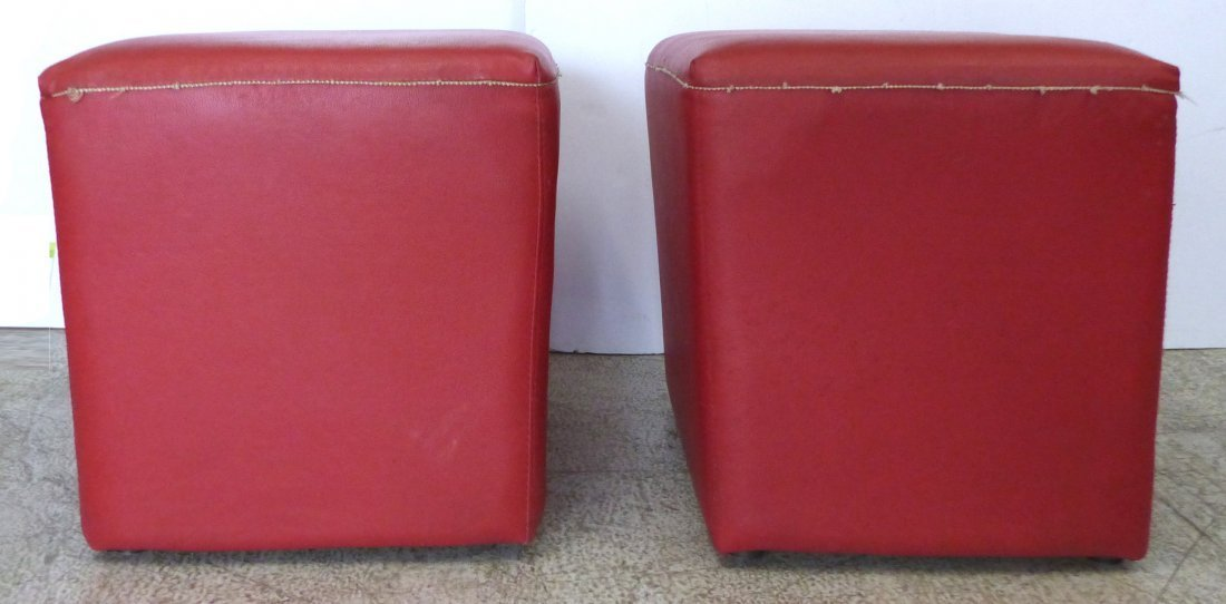 Pair of Mid-century Modern Tapered Cube Stools