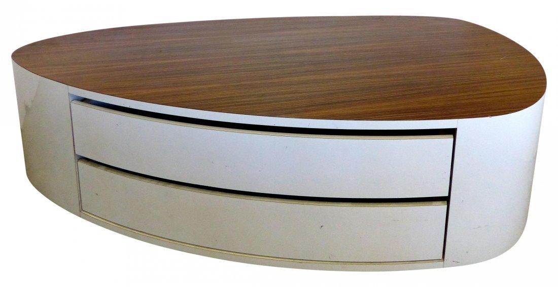 Modernist Zebra-wood Coffee Table/ Display w/ Drawers