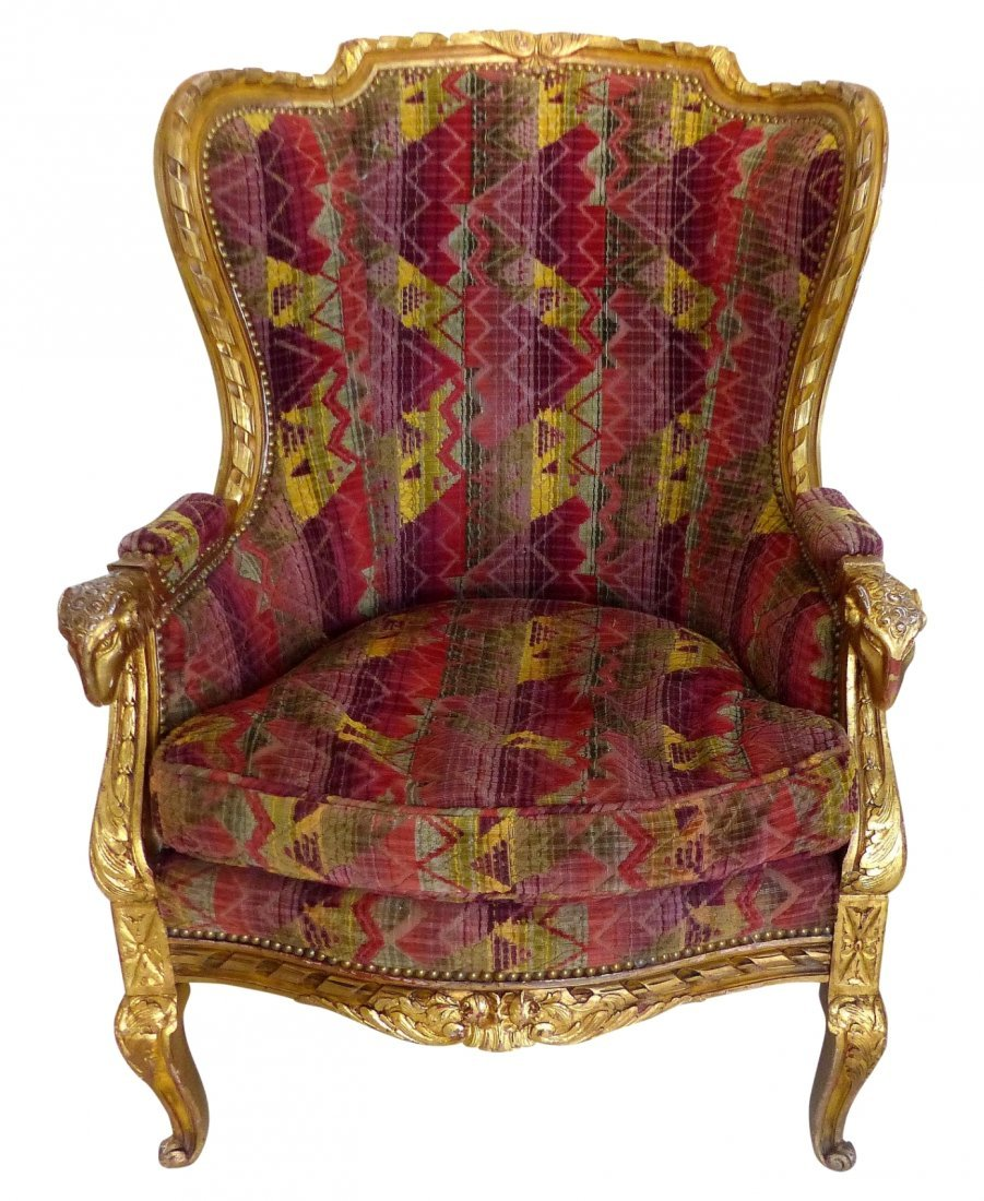 Antique Gilt-Wood & Velvet Wing-back Chair w/ Rams Head