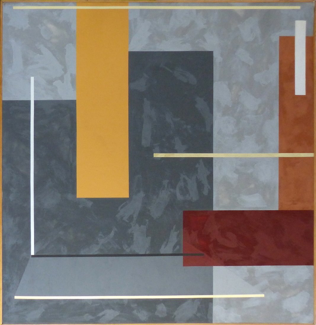 Monumental Modernist Abstract Oil Painting, Signed