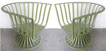 Mid-century Modern Woodard Swivel Metal Club Chairs