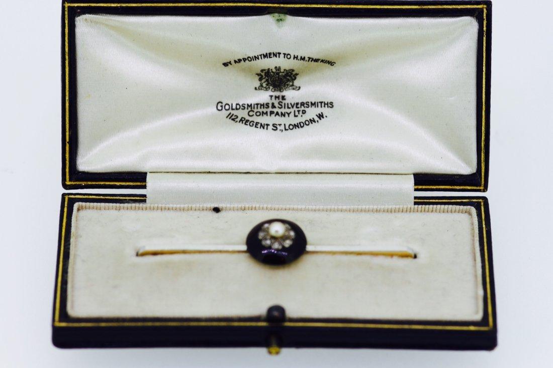 Onyx, Diamonds & Pearl Brooch