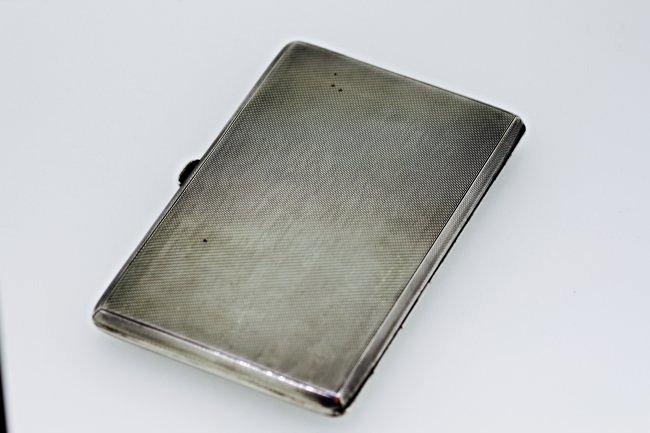 Solid Silver Rectangular Cigarette Case Birmingham 1939