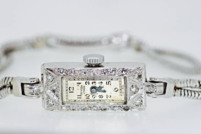 J.W. Benson Art Deco Platinum Watch