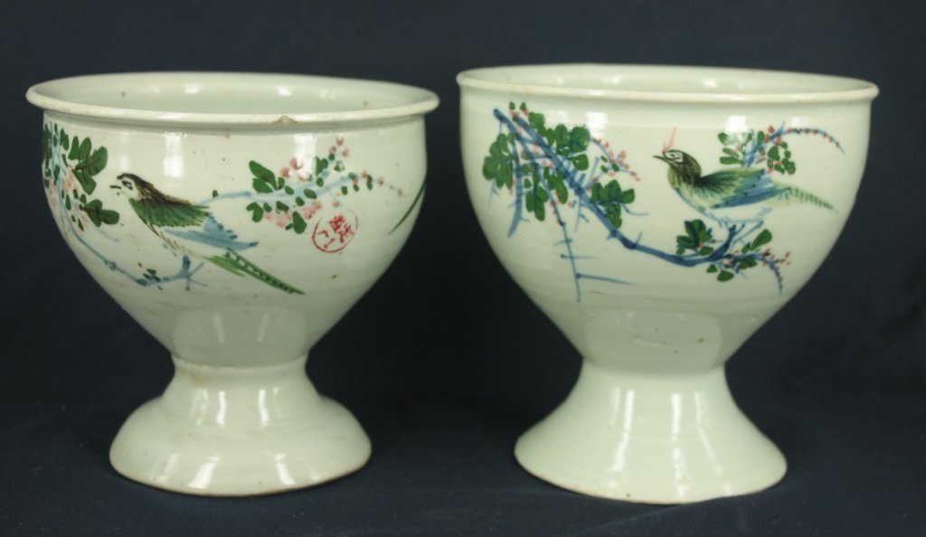 Lot of 2 hand painted famille-rose floral, calligraphy