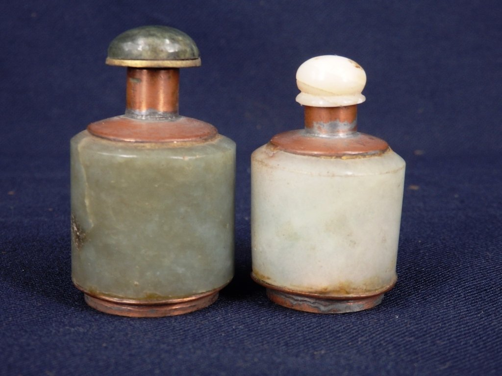 Lot of 2 antique Jadeite ring snuff bottle