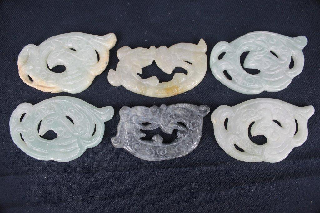 $10 Group of 6 Chinese Jadeite/hard stone pendants
