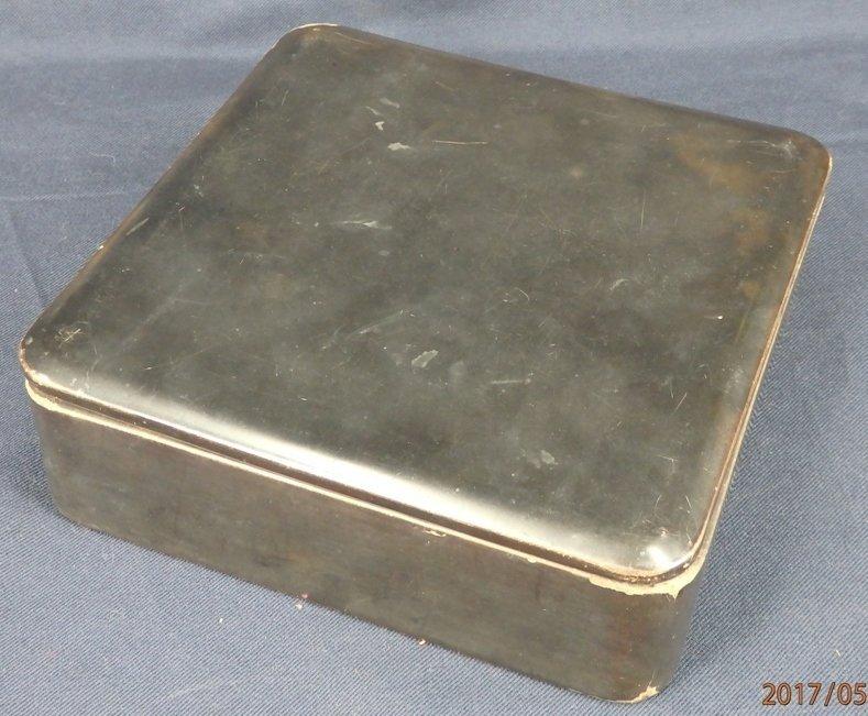 $10 Antique Japanese square black lacquer cover box