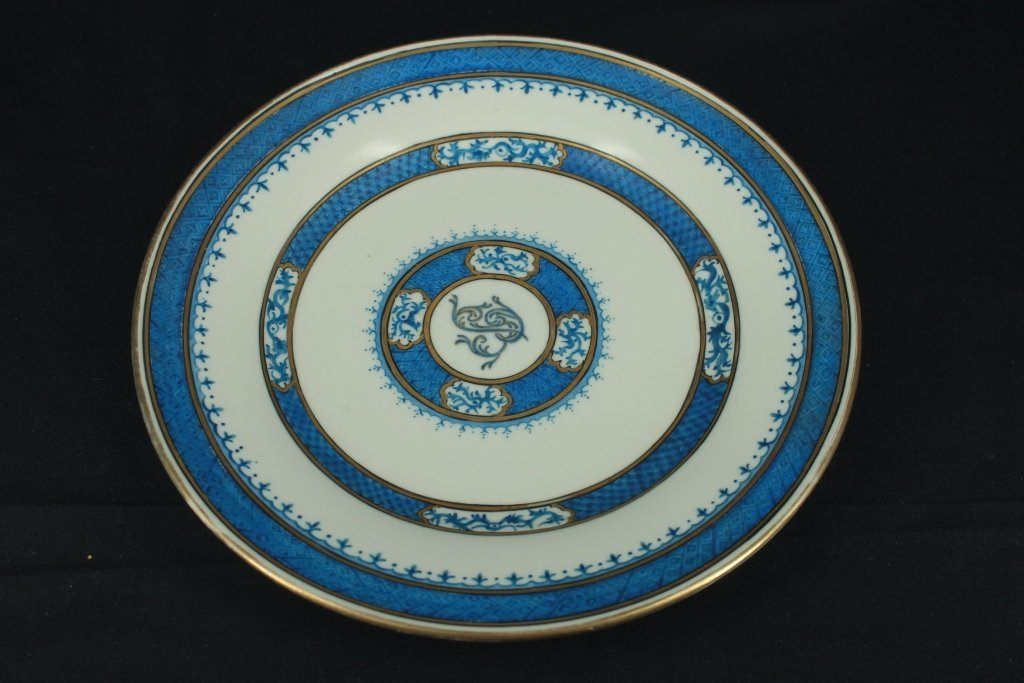 """$10 Very nice gold medallion """"B"""", blue and white plate"""