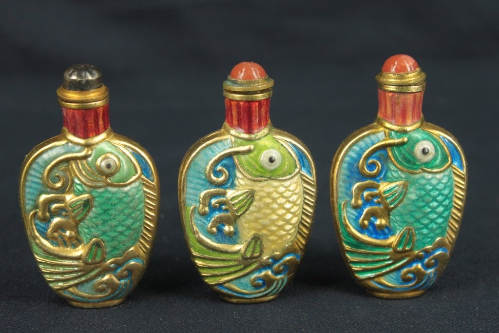 Group of 3pcs fish shape snuff bottle made of copper