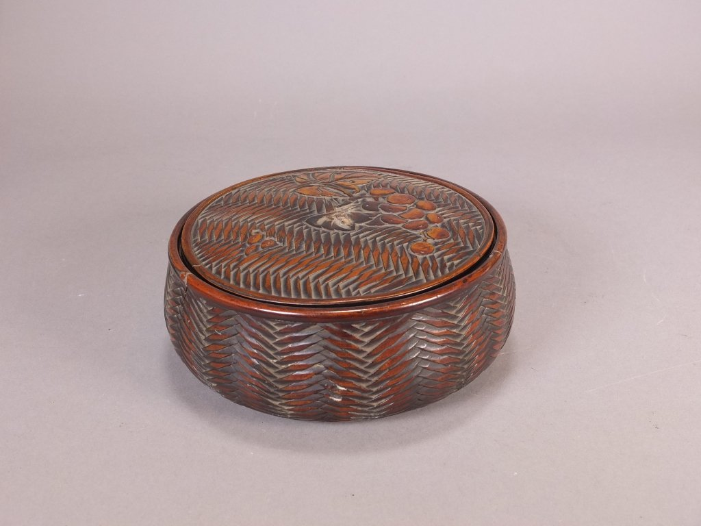 $10 Antique Japanese round wooden cover boxes with