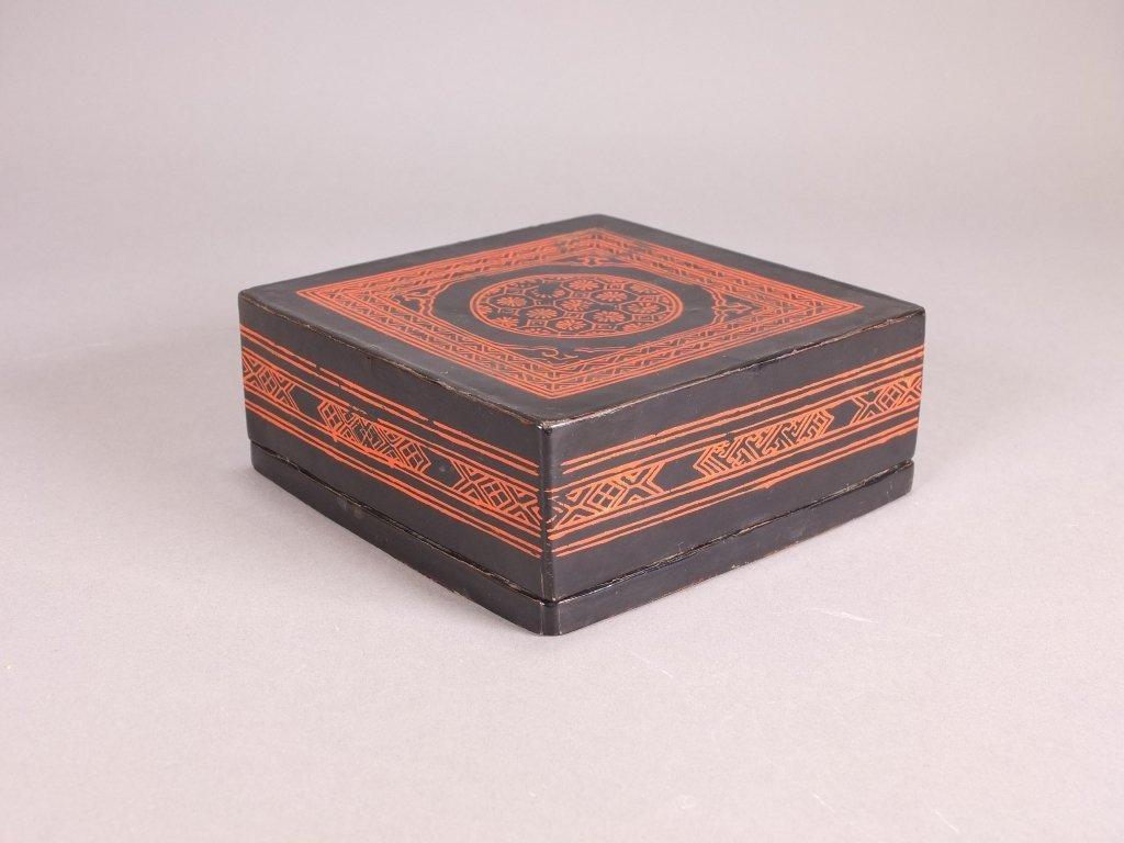 Antique square black lacquer cover box