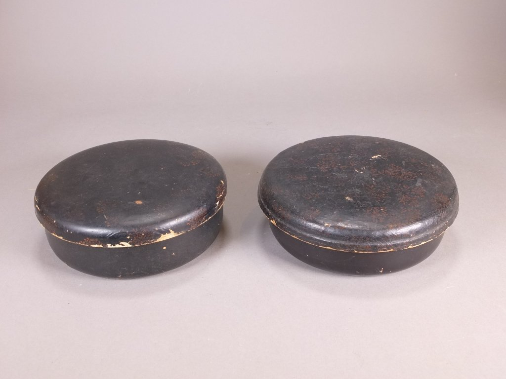 $10 Pair of antique Japanese round black lacquer cover