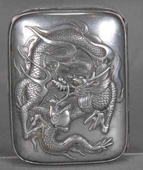 Antique Japanese Silver Plated Cigarette Box