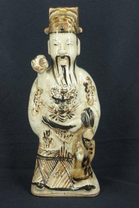 "18th Century, ""jizhou"" Glaze Statue Of Nobility"