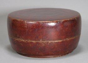 19th C, Burlwood Round Food Box With Original Lacquer,