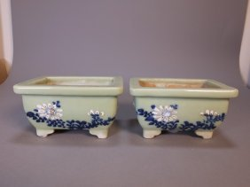 Vintage Pair Of Celadon Flower Pot With Floral Painting