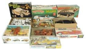 Toy car model kits w/boxes (7), Aurora kits (3): 1930